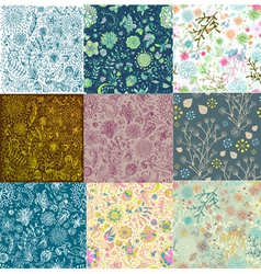 Set of nine seamless floral background vector