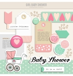 Cute set of baby shower scrapbooking elements vector