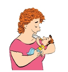 Joyful woman feeds the baby milk from a bottle vector