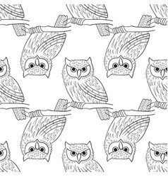 big-eared owl a seamless pattern in the handdrawn vector image
