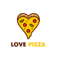 love pizza logo design modern line vector image