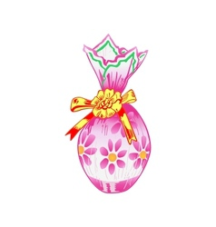 Easter egg wrapped in colorful paper vector