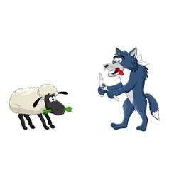 Hungry wolf and sheep vector