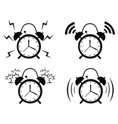 Black alarm clock icon vector
