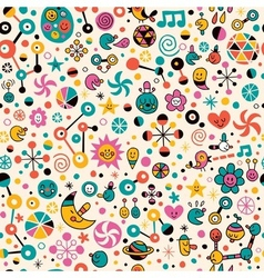Cute fun cartoon seamless pattern vector