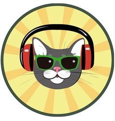 Funny cat with headphones and sunglasses vector