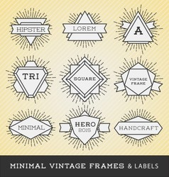 Set of vintage line frames and labels vector image
