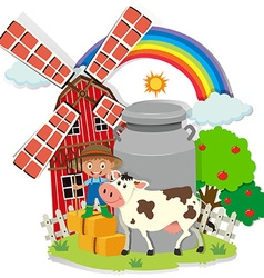 Farmer and cown in the farm vector image