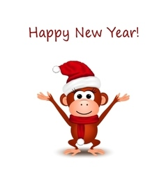 New year greeting card with cheerful monkey in vector