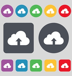 Backup icon sign A set of 12 colored buttons Flat vector image