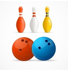 Group of bowling pins and balls vector