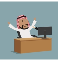 Arabian businessman receiving a diamond vector