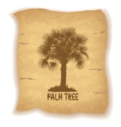 Palm trees silhouettes on old paper vector