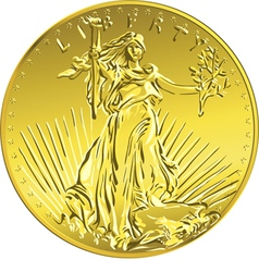 American money gold coin with the image of liberty vector