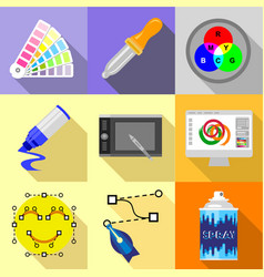 Artist equipment icons set flat style vector