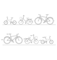 bicycle set for family ride vector image