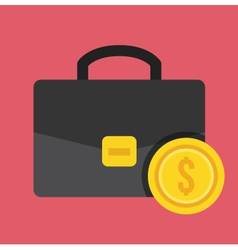 Breifcase and gold coin icon vector
