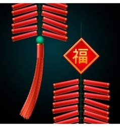 Chinese new year firecrackers ornament vector
