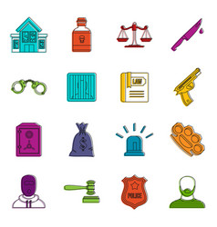 Crime and punishment icons doodle set vector