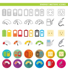 Energy meters icons vector