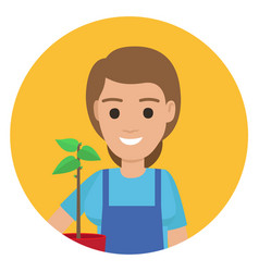 happy gardener with plant in pot ain stylish apron vector image