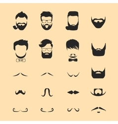 Hipster hair and beards mustache vector image vector image