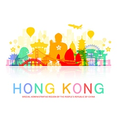 Hong kong travel landmarks vector