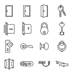 Icons related to doors and locks vector image vector image