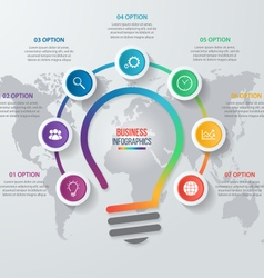 idea light bulb circle infographic with world map vector image
