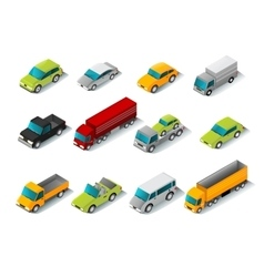 Isometric Car Icons Set vector image