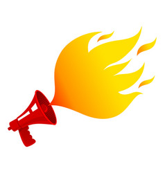 megaphone with fire vector image