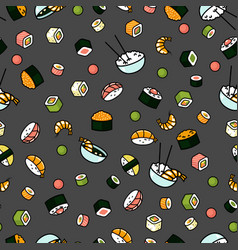 modern seamless sushi pattern vector image vector image
