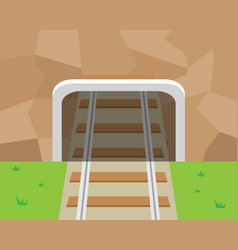 Mountain tunnel and railroad in flat style vector