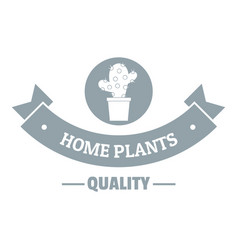 Quality home cactus logo simple gray style vector