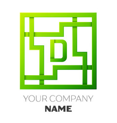 Realistic letter d symbol in colorful square maze vector