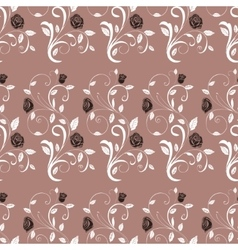 Retro seamless pattern branches roses vector image vector image