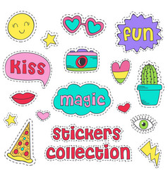 Set of isolated funny stickers vector
