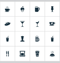 set of simple food icons vector image