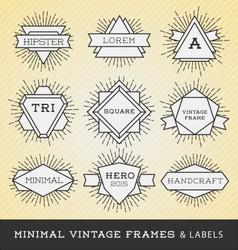 Set of vintage line frames and labels vector image vector image