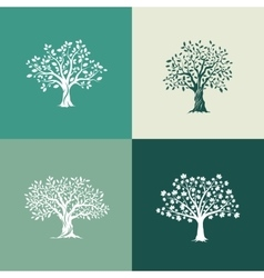 set on green background vector image vector image