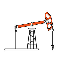 Sketch color silhouette tower and system oil vector