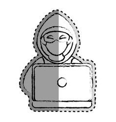 sticker monochrome blurred of hacker and laptop vector image