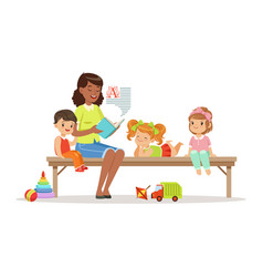 teacher reading a book to kids while sitting on a vector image vector image