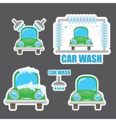 Orange car wash icons set vector