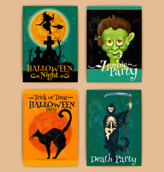 Stylized retro posters for Halloween party vector image