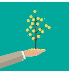 Businessman hand holding coin tree vector image