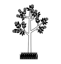Black silhouette tree leafy with grass vector
