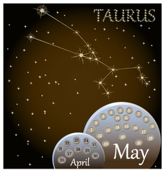 Calendar of the zodiac sign taurus vector