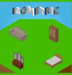 Isometric furnishing set of drawer bedstead vector