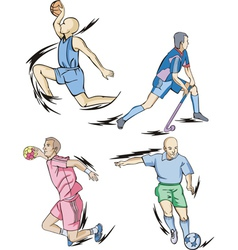 Team sports basketball field hockey handball and vector